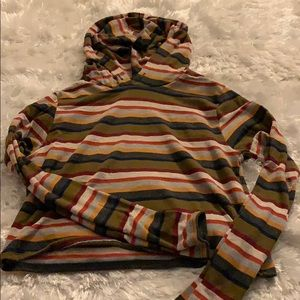 cropped stripped hoodie